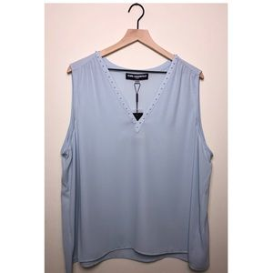 Karl Lagerfeld Sleeveless V-Neck Blouse